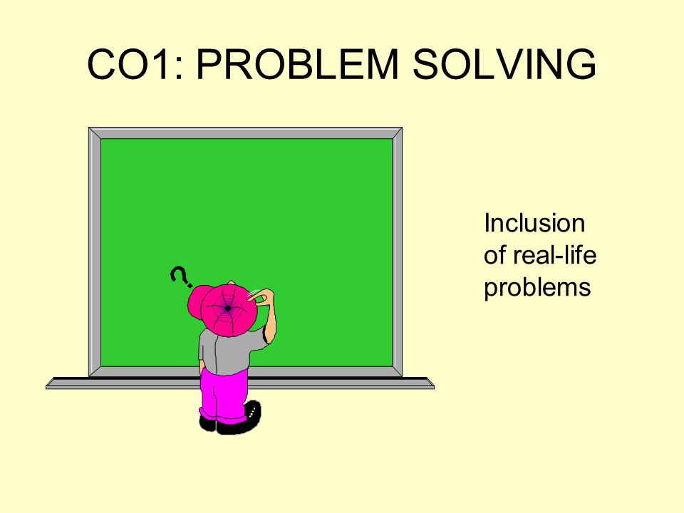 CO1: PROBLEM SOLVING Inclusion of real-life problems