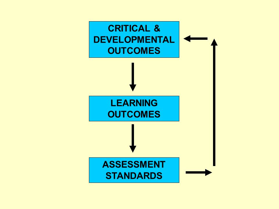 CRITICAL & DEVELOPMENTAL OUTCOMES LEARNING OUTCOMES ASSESSMENT STANDARDS