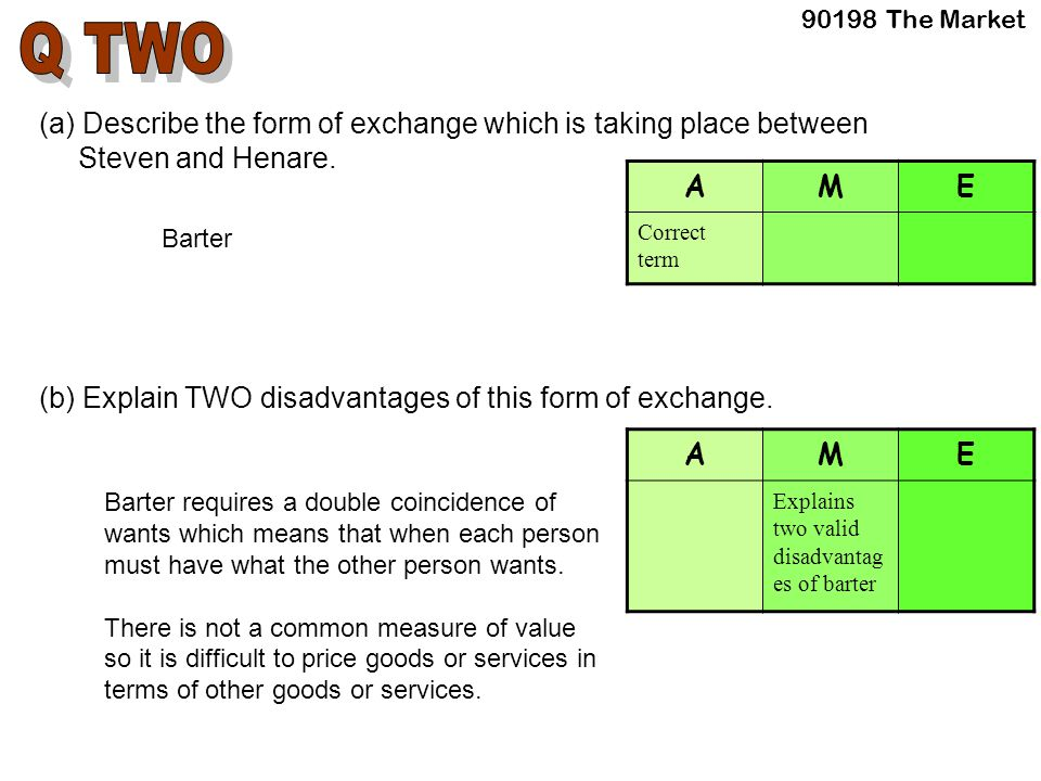 (a) Describe the form of exchange which is taking place between Steven and Henare.