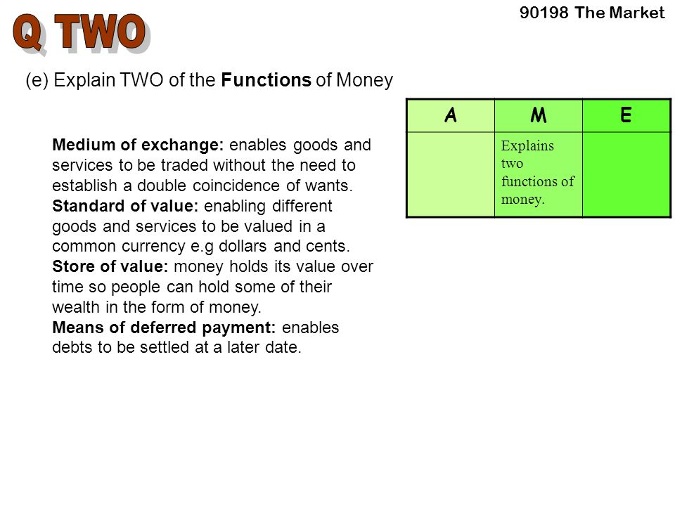 (e) Explain TWO of the Functions of Money Medium of exchange: enables goods and services to be traded without the need to establish a double coincidence of wants.