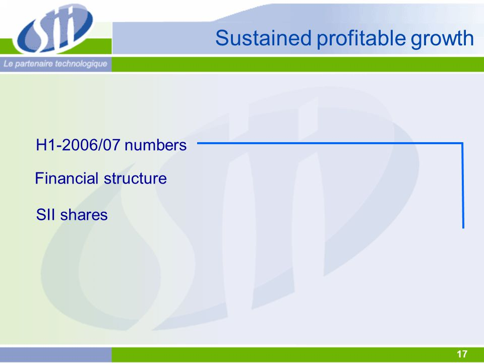 17 Sustained profitable growth H1-2006/07 numbers Financial structure SII shares