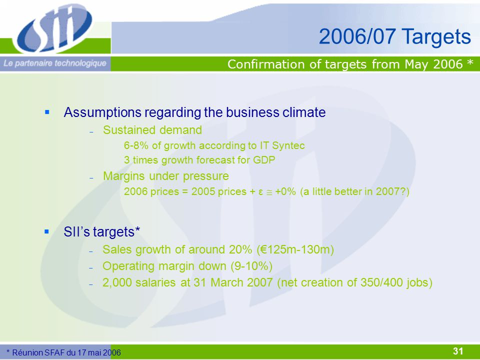 31 2006/07 Targets  Assumptions regarding the business climate  Sustained demand 6-8% of growth according to IT Syntec 3 times growth forecast for G