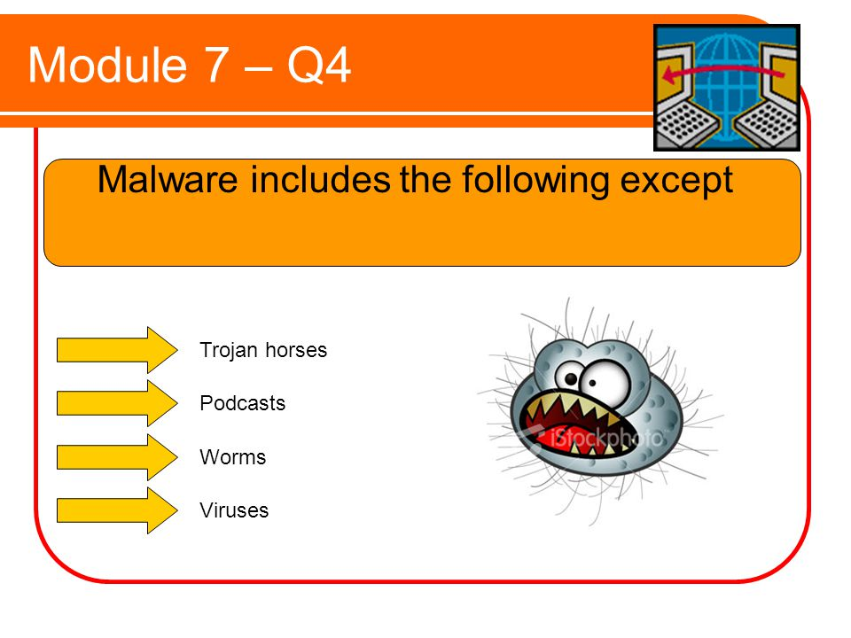 Module 7 – Q4 Malware includes the following except Trojan horses Podcasts Worms Viruses