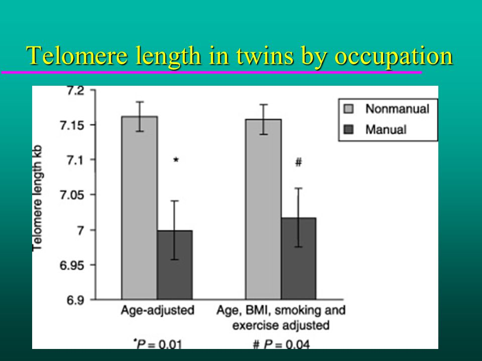 Telomere length in twins by occupation