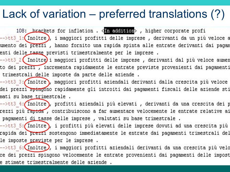 Lack of variation – preferred translations ( )