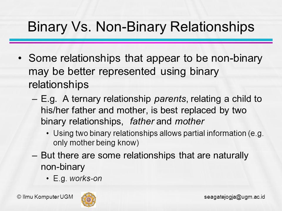 © Ilmu Komputer UGM seagatejogja@ugm.ac.id Binary Vs. Non-Binary Relationships Some relationships that appear to be non-binary may be better represent