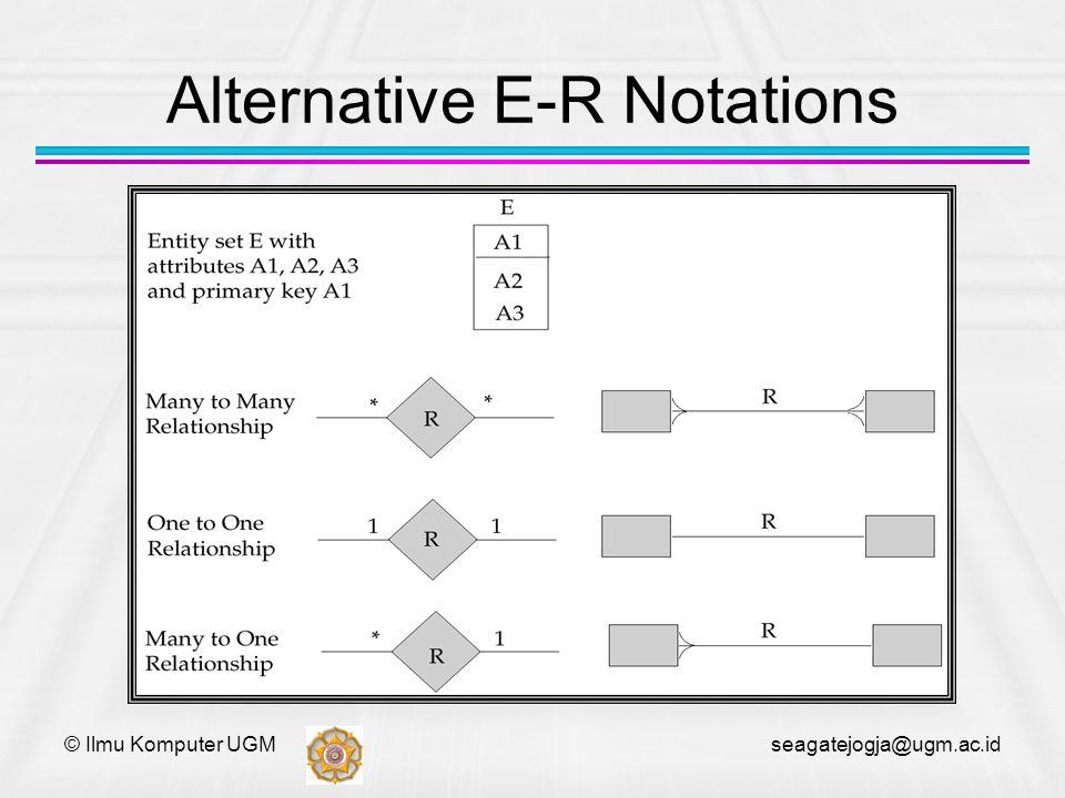 © Ilmu Komputer UGM seagatejogja@ugm.ac.id Alternative E-R Notations