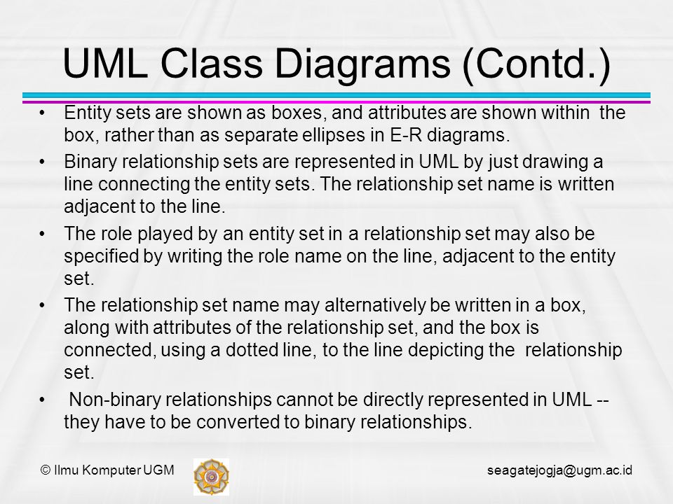© Ilmu Komputer UGM seagatejogja@ugm.ac.id UML Class Diagrams (Contd.) Entity sets are shown as boxes, and attributes are shown within the box, rather