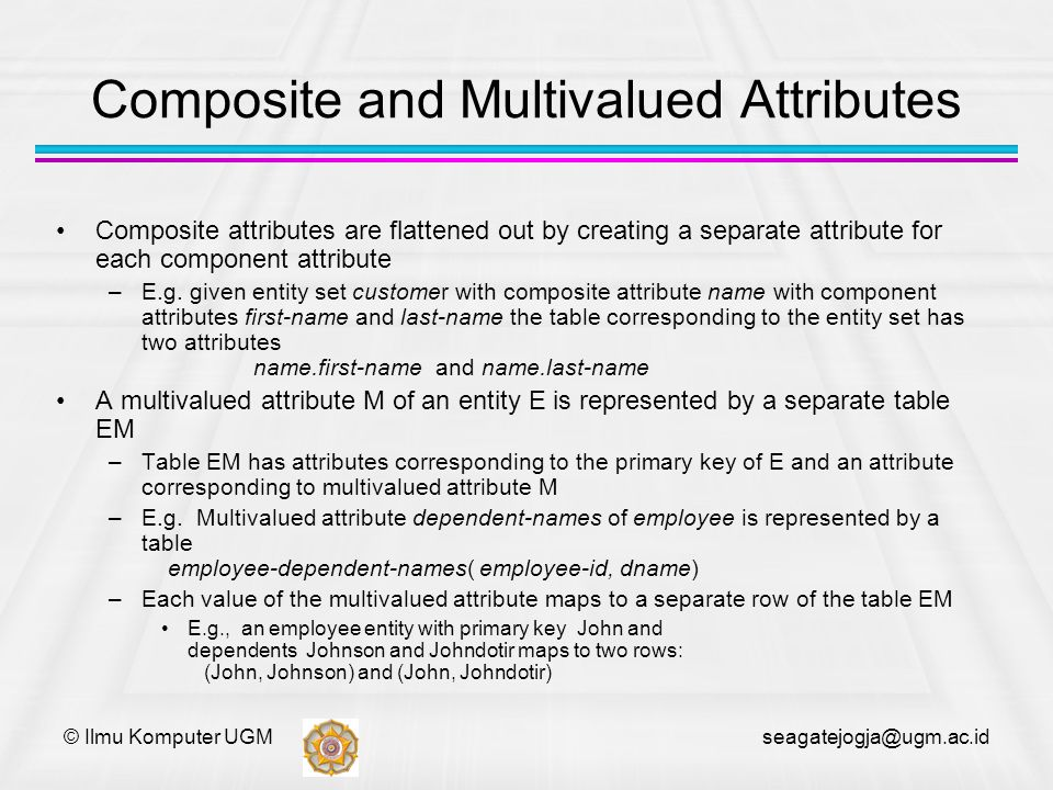 © Ilmu Komputer UGM seagatejogja@ugm.ac.id Composite and Multivalued Attributes Composite attributes are flattened out by creating a separate attribut
