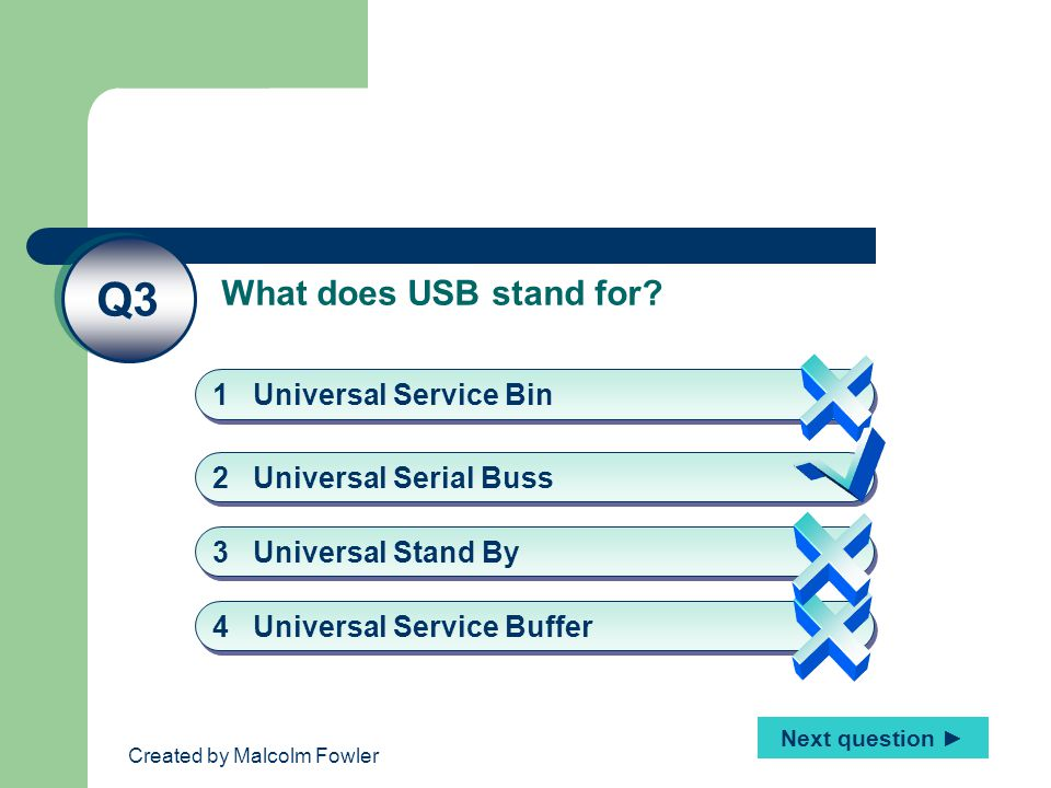 Created by Malcolm Fowler What does USB stand for? Q3 2 Universal Serial Buss 1 Universal Service Bin 4 Universal Service Buffer 3 Universal Stand By