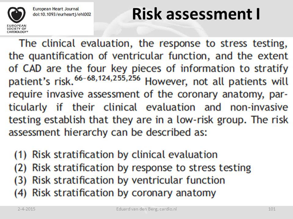 Risk assessment I 2-4-2015Eduard van den Berg, cardio.nl101