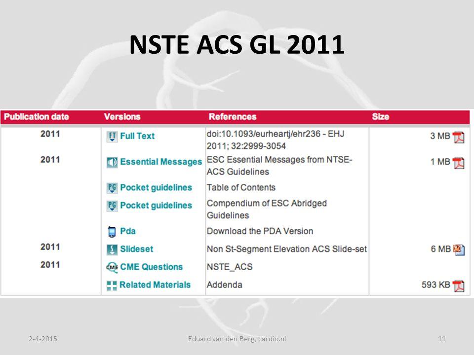 NSTE ACS GL 2011 2-4-2015Eduard van den Berg, cardio.nl11