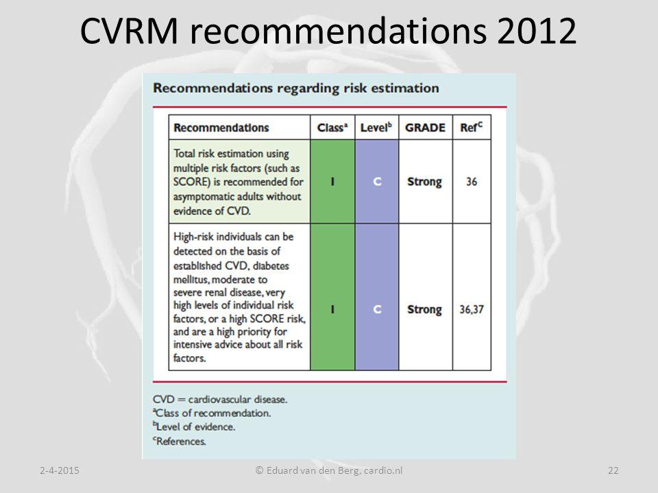 CVRM recommendations 2012 2-4-2015© Eduard van den Berg, cardio.nl22