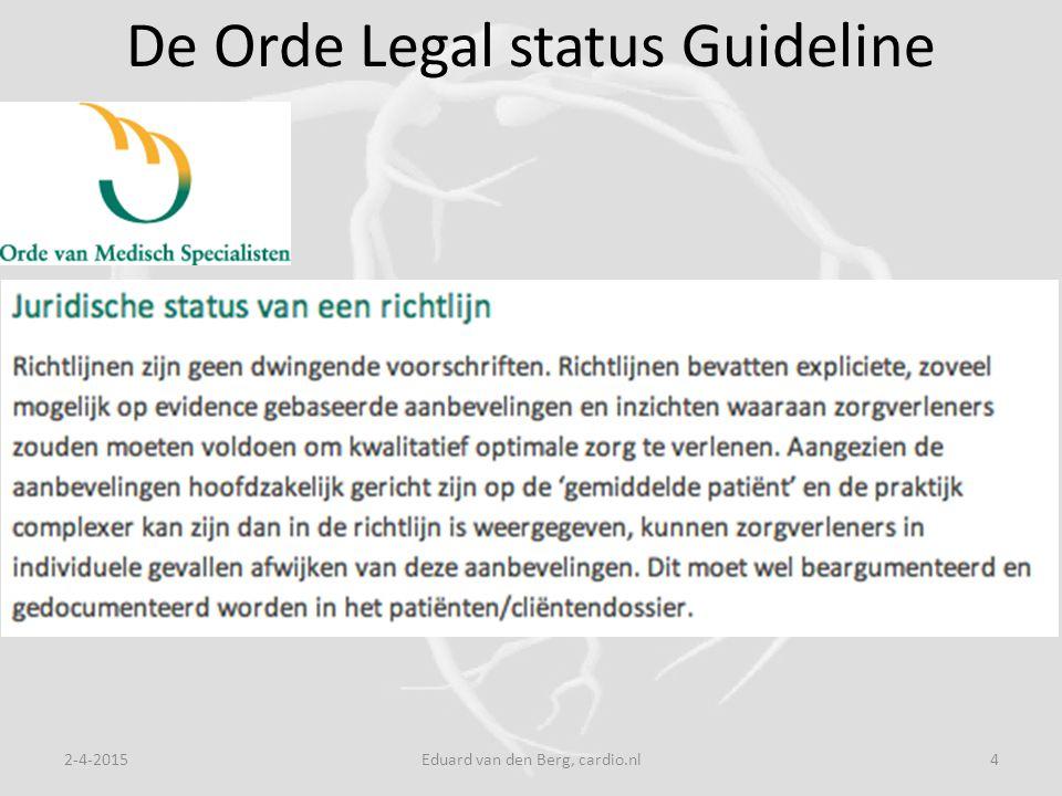 2-4-2015Eduard van den Berg, cardio.nl4 De Orde Legal status Guideline