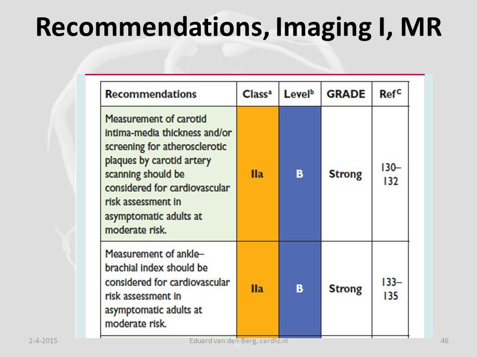 Recommendations, Imaging I, MR 2-4-2015Eduard van den Berg, cardio.nl46
