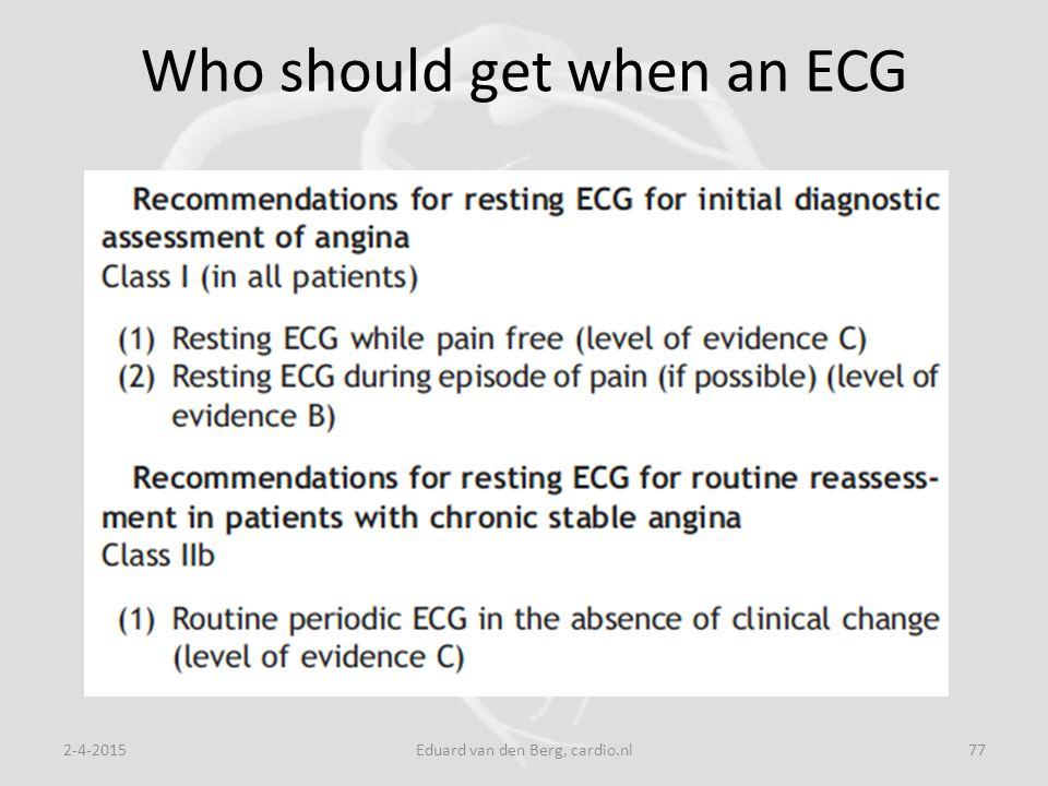 Who should get when an ECG 2-4-2015Eduard van den Berg, cardio.nl77