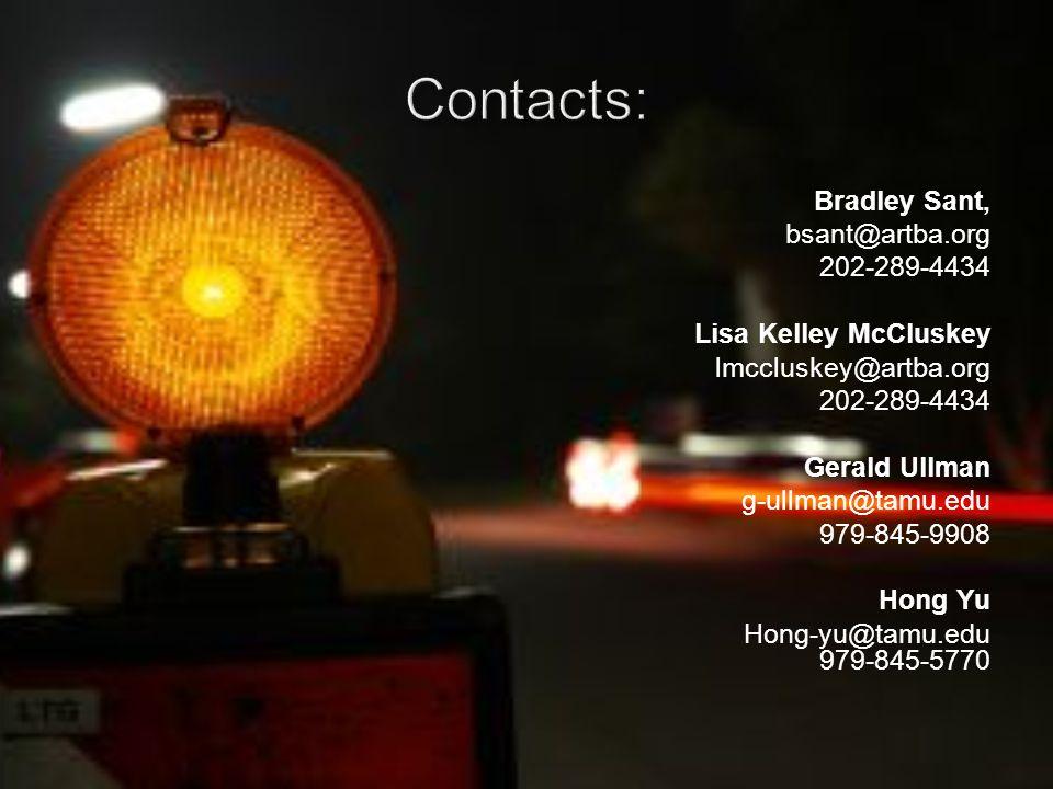 Bradley Sant, bsant@artba.org 202-289-4434 Lisa Kelley McCluskey lmccluskey@artba.org 202-289-4434 Gerald Ullman g-ullman@tamu.edu 979-845-9908 Hong Yu Hong-yu@tamu.edu 979-845-5770