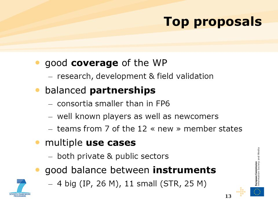 13 Top proposals good coverage of the WP – research, development & field validation balanced partnerships – consortia smaller than in FP6 – well known players as well as newcomers – teams from 7 of the 12 « new » member states multiple use cases – both private & public sectors good balance between instruments – 4 big (IP, 26 M), 11 small (STR, 25 M)