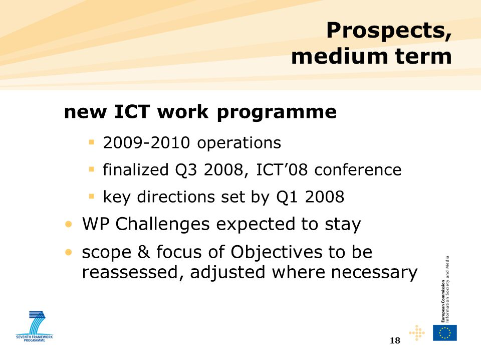 18 Prospects, medium term new ICT work programme  2009-2010 operations  finalized Q3 2008, ICT'08 conference  key directions set by Q1 2008 WP Chal
