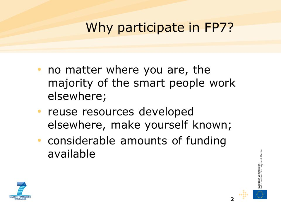 2 Why participate in FP7.