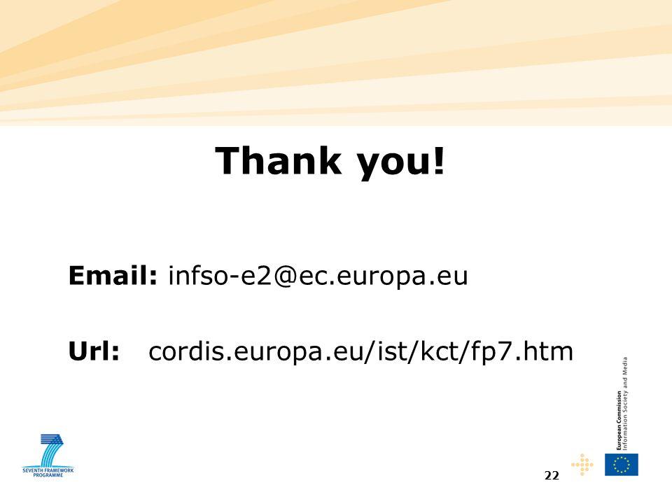 22 Thank you! Email: infso-e2@ec.europa.eu Url: cordis.europa.eu/ist/kct/fp7.htm