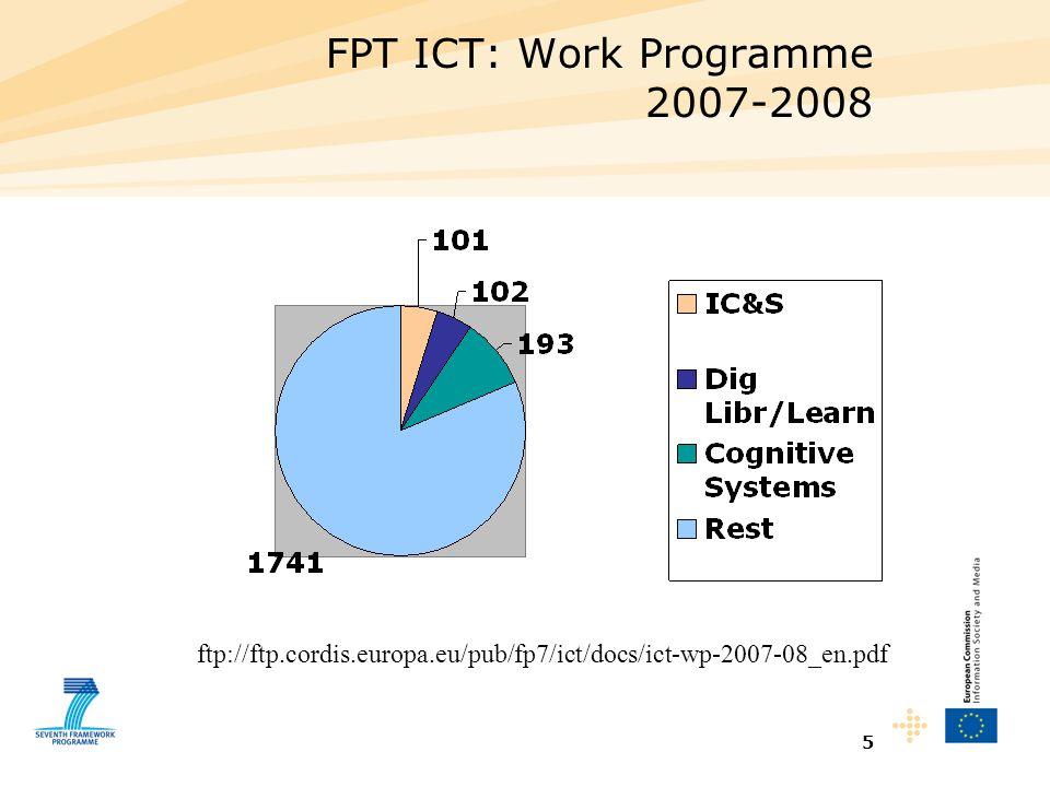 5 FPT ICT: Work Programme 2007-2008 ftp://ftp.cordis.europa.eu/pub/fp7/ict/docs/ict-wp-2007-08_en.pdf