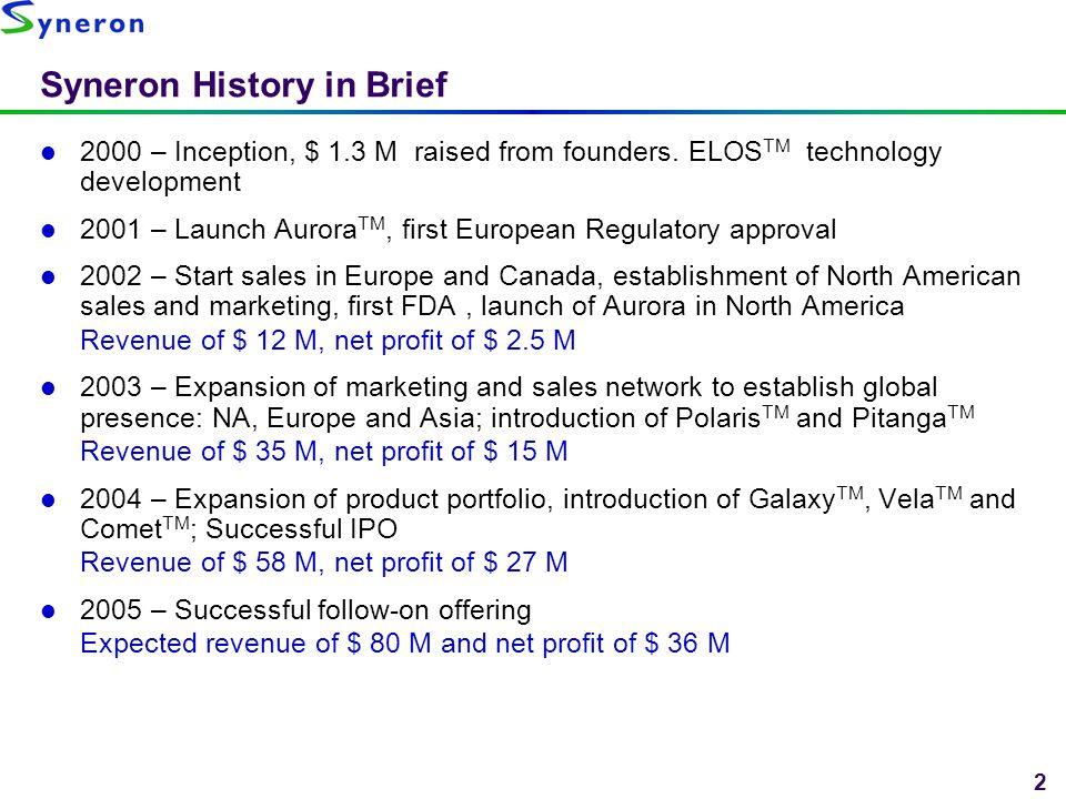 2 Syneron History in Brief 2000 – Inception, $ 1.3 M raised from founders. ELOS TM technology development 2001 – Launch Aurora TM, first European Regu