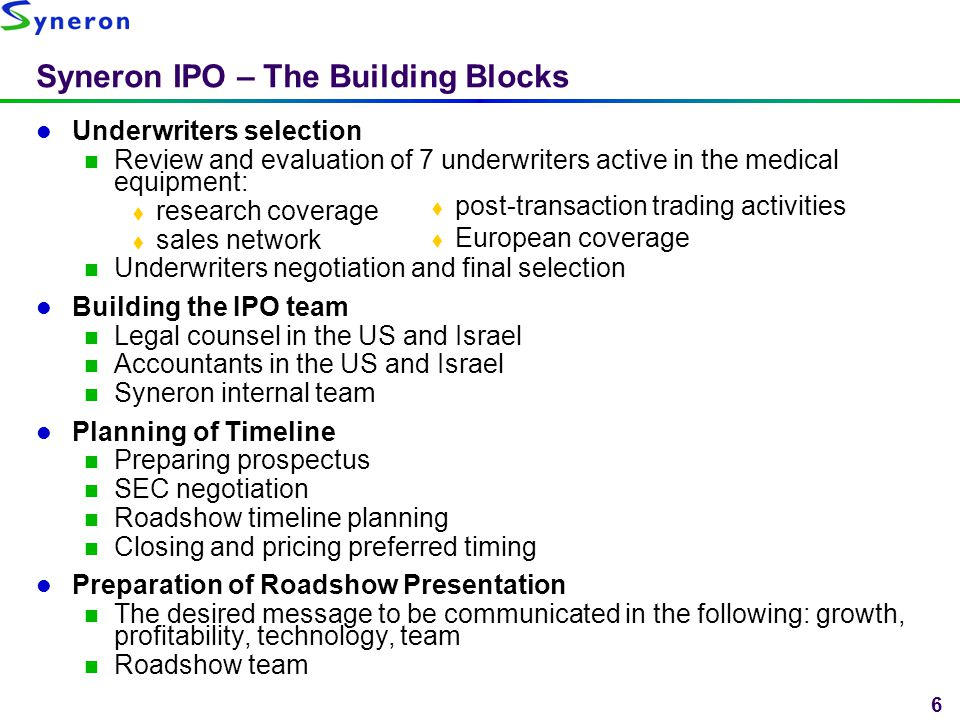 6 Syneron IPO – The Building Blocks Underwriters selection Review and evaluation of 7 underwriters active in the medical equipment:  research coverag