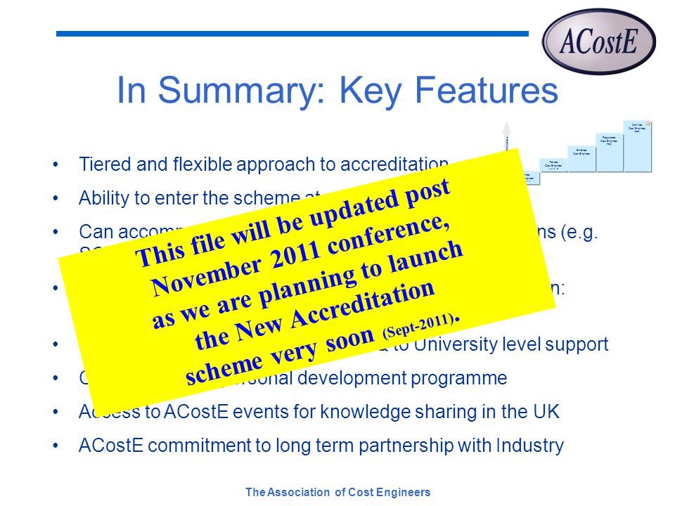 The Association of Cost Engineers In Summary: Key Features Tiered and flexible approach to accreditation Ability to enter the scheme at any level Can accommodate accreditation from other organisations (e.g.