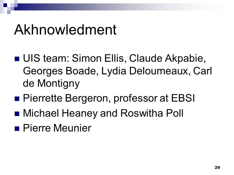 29 Akhnowledment UIS team: Simon Ellis, Claude Akpabie, Georges Boade, Lydia Deloumeaux, Carl de Montigny Pierrette Bergeron, professor at EBSI Michael Heaney and Roswitha Poll Pierre Meunier