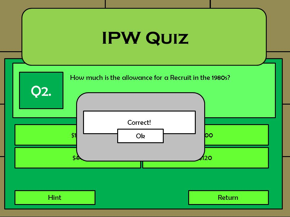 How much is the allowance for a Recruit in the 1980s? IPW Quiz Q2. $130$500 $44$120 HintReturn Correct! Ok