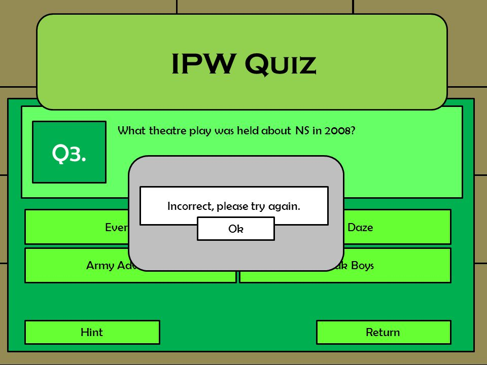 What theatre play was held about NS in 2008? IPW Quiz Q3. Every BoyArmy Daze Army AdventuresBotak Boys HintReturn Incorrect, please try again. Ok