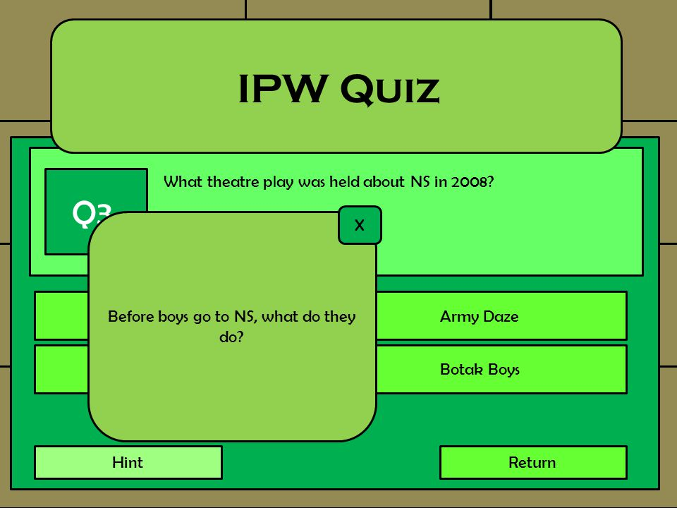 What theatre play was held about NS in 2008? IPW Quiz Q3. Every BoyArmy Daze Army AdventuresBotak Boys Return Before boys go to NS, what do they do? X