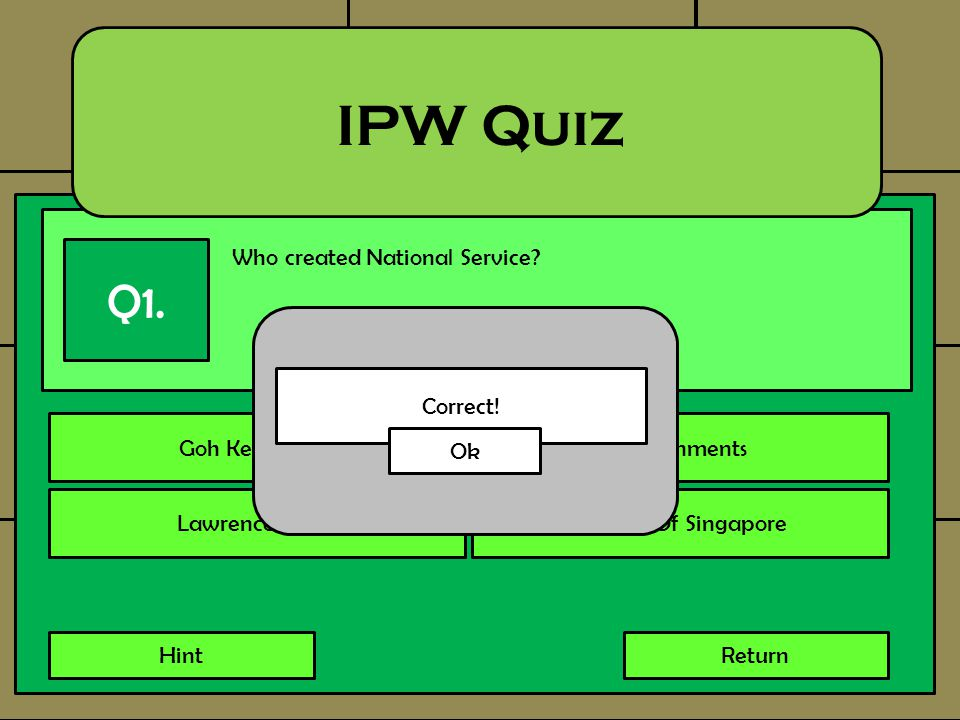 Who created National Service? IPW Quiz Q1. Goh Keng SweeGovernments Lawrence WongCitizens Of Singapore HintReturn Correct! Ok