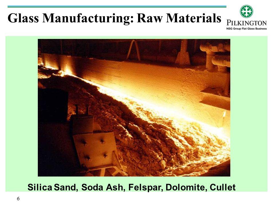 Raw Material Source SILICA SAND FELSPAR DOLOMITE SODA ASH CHINA AND USA CARBON JAPAN SALT CAKE CHINA