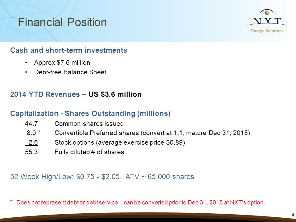 Cash and short-term investments Approx $7.6 million Debt-free Balance Sheet 2014 YTD Revenues – US $3.6 million 4 Financial Position Capitalization - Shares Outstanding (millions) 44.7Common shares issued 8.0 *Convertible Preferred shares (convert at 1:1, mature Dec 31, 2015) 2.6Stock options (average exercise price $0.89) 55.3Fully diluted # of shares 52 Week High/Low: $0.75 - $2.05.