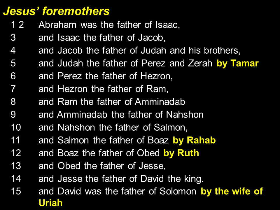 Jesus' foremothers 1 2 Abraham was the father of Isaac, 3 and Isaac the father of Jacob, 4 and Jacob the father of Judah and his brothers, 5 and Judah the father of Perez and Zerah by Tamar, 6 and Perez the father of Hezron, 7 and Hezron the father of Ram, 8 and Ram the father of Amminadab 9 and Amminadab the father of Nahshon 10 and Nahshon the father of Salmon, 11 and Salmon the father of Boaz by Rahab 12 and Boaz the father of Obed by Ruth 13 and Obed the father of Jesse, 14 and Jesse the father of David the king.