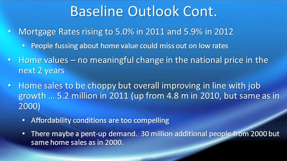 Baseline Outlook Cont.