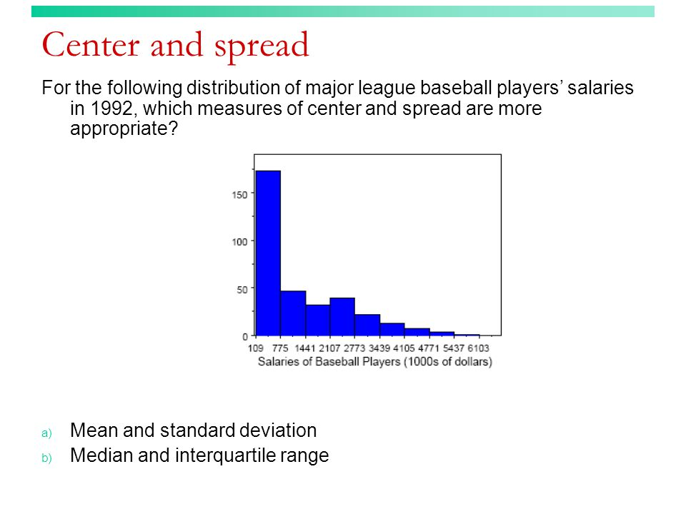 Center and spread For the following distribution of major league baseball players' salaries in 1992, which measures of center and spread are more appr