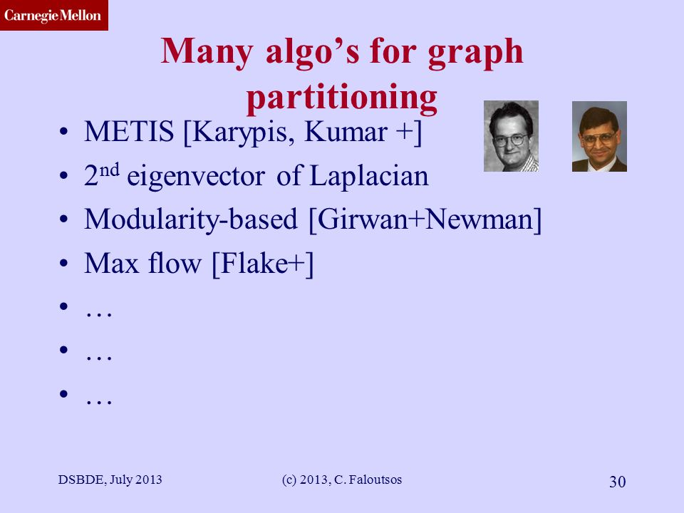 CMU SCS Many algo's for graph partitioning METIS [Karypis, Kumar +] 2 nd eigenvector of Laplacian Modularity-based [Girwan+Newman] Max flow [Flake+] … DSBDE, July 2013(c) 2013, C.