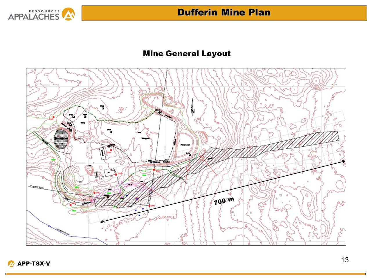 Dufferin Mine Plan Mine General Layout 13 APP-TSX-V 700 m