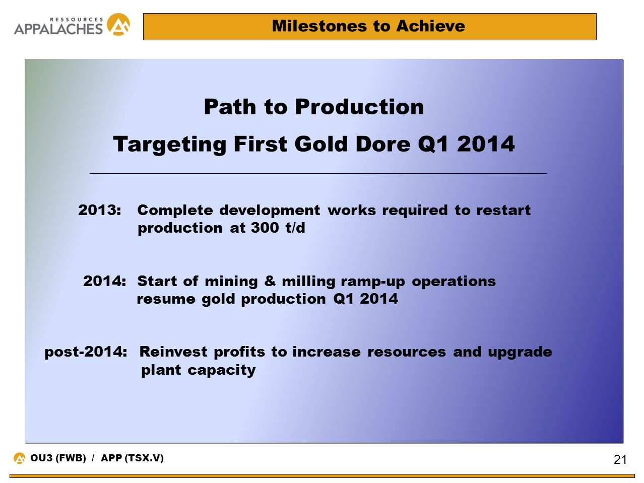 Milestones to Achieve Path to Production Targeting First Gold Dore Q1 2014 2013: Complete development works required to restart production at 300 t/d