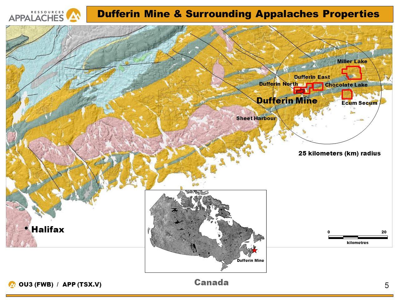 Canada Halifax Sheet Harbour 020 kilometres Miller Lake Dufferin Mine Dufferin Mine & Surrounding Appalaches Properties Chocolate Lake Ecum Secum 5 25