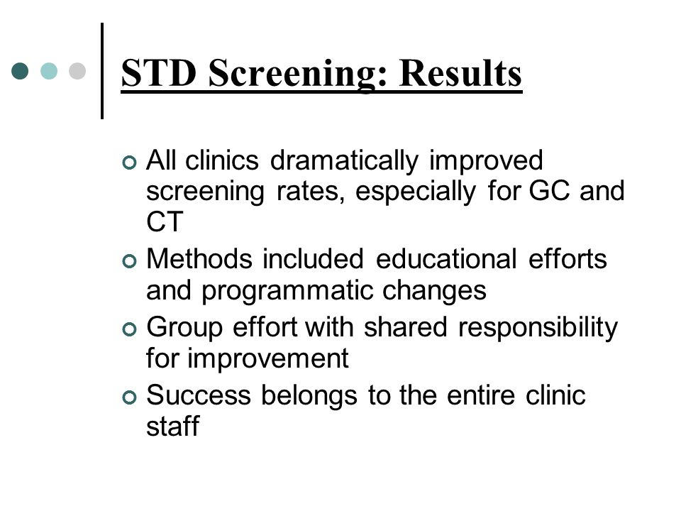 STD Screening: Results All clinics dramatically improved screening rates, especially for GC and CT Methods included educational efforts and programmatic changes Group effort with shared responsibility for improvement Success belongs to the entire clinic staff