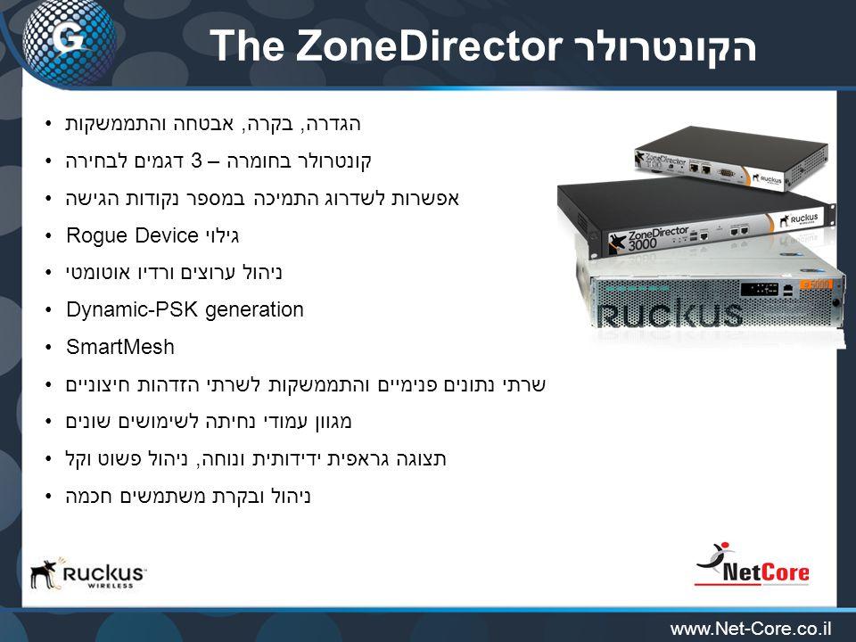 www.Net-Core.co.il הקונטרולרThe ZoneDirector הגדרה, בקרה, אבטחה והתממשקות קונטרולר בחומרה – 3 דגמים לבחירה אפשרות לשדרוג התמיכה במספר נקודות הגישה Rogue Device גילוי ניהול ערוצים ורדיו אוטומטי Dynamic-PSK generation SmartMesh שרתי נתונים פנימיים והתממשקות לשרתי הזדהות חיצוניים מגוון עמודי נחיתה לשימושים שונים תצוגה גראפית ידידותית ונוחה, ניהול פשוט וקל ניהול ובקרת משתמשים חכמה