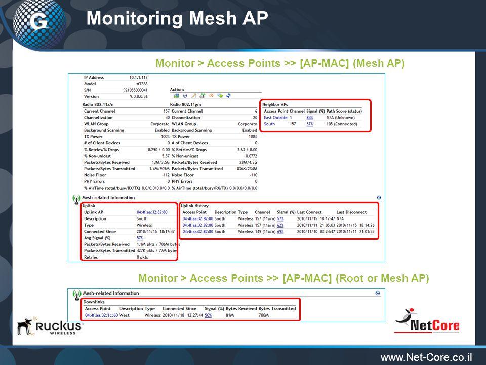 www.Net-Core.co.il Monitoring Mesh AP Monitor > Access Points >> [AP-MAC] (Mesh AP) Monitor > Access Points >> [AP-MAC] (Root or Mesh AP)