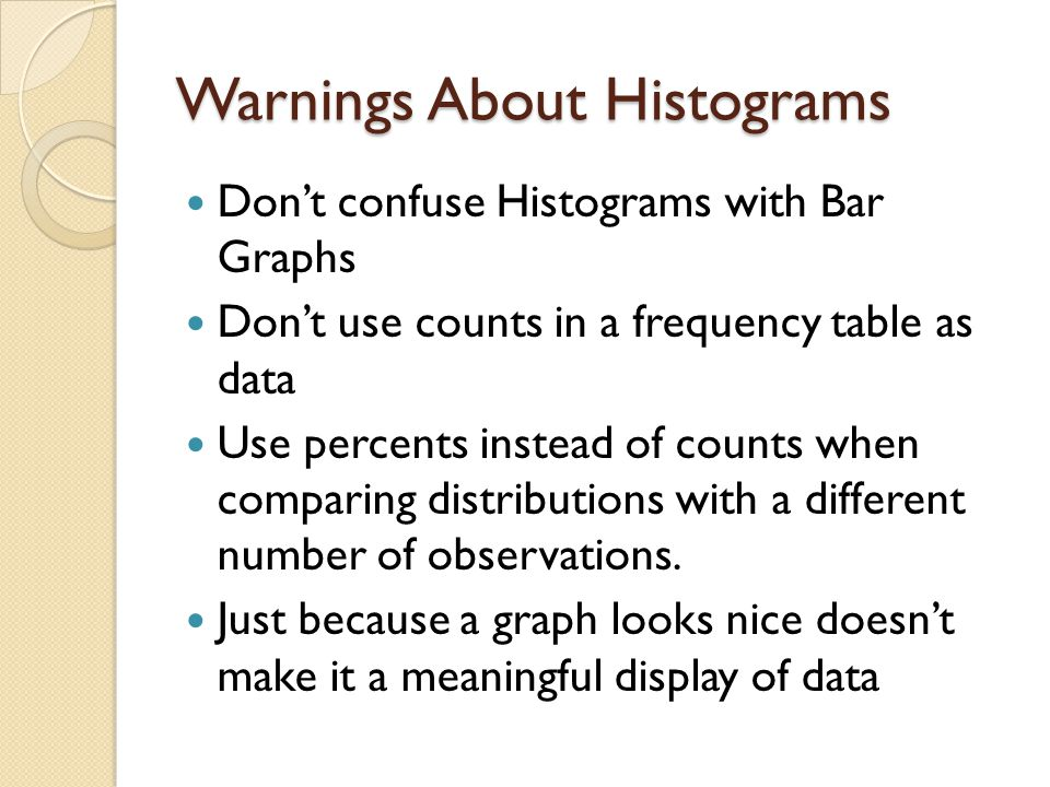 Warnings About Histograms Don't confuse Histograms with Bar Graphs Don't use counts in a frequency table as data Use percents instead of counts when c