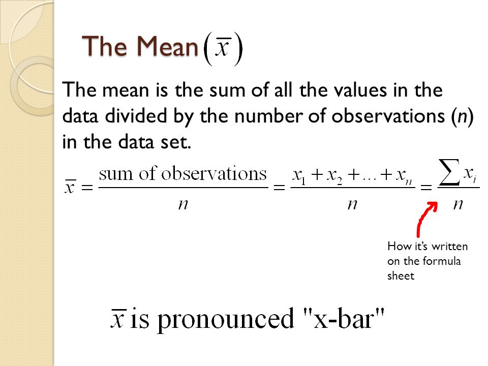 Mean as the Balancing Point The mean of a distribution is sometimes thought of as the balancing point of the distribution.