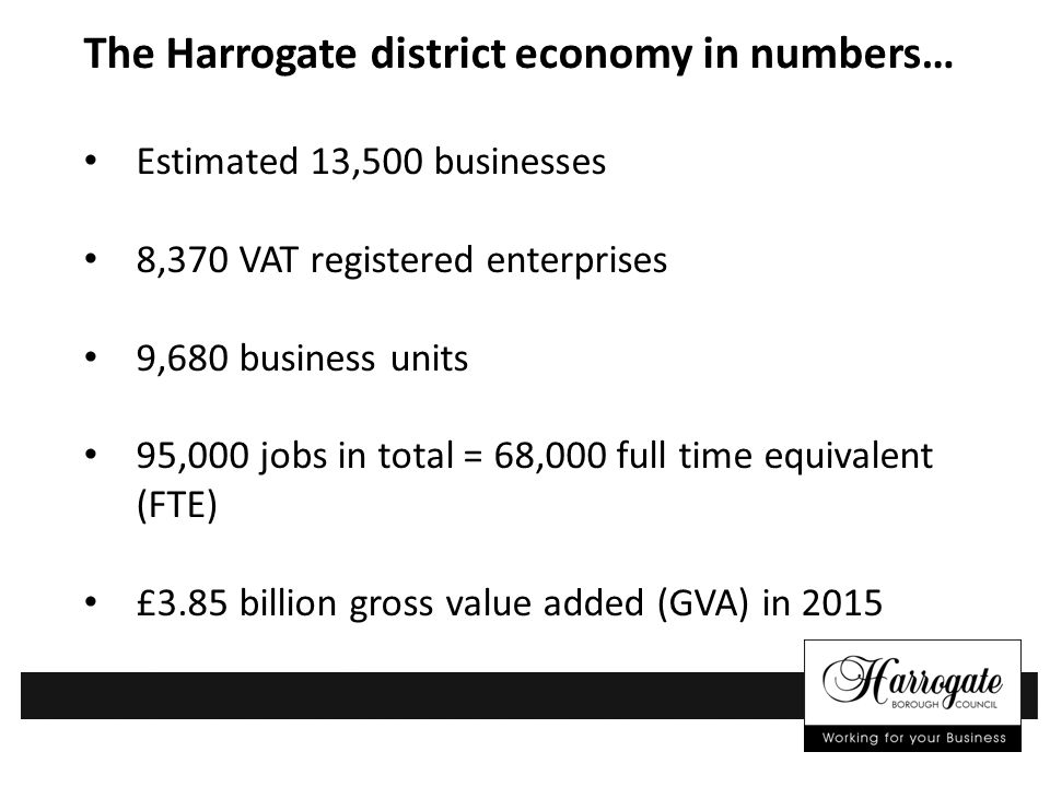 The Harrogate district economy in numbers… Estimated 13,500 businesses 8,370 VAT registered enterprises 9,680 business units 95,000 jobs in total = 68,000 full time equivalent (FTE) £3.85 billion gross value added (GVA) in 2015