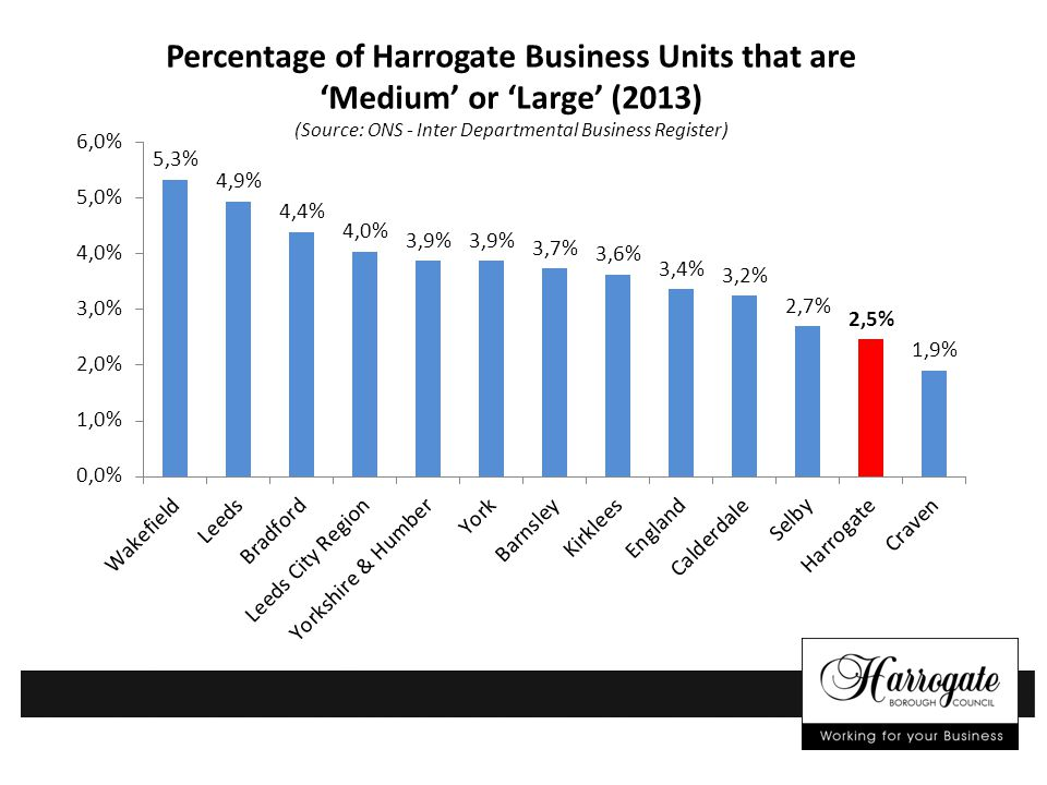 Percentage of Harrogate Business Units that are 'Medium' or 'Large' (2013) (Source: ONS - Inter Departmental Business Register)